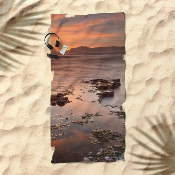 """Last red light"" Sunset at the sea Beach Towel"