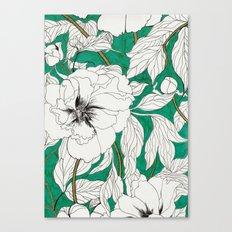 green peonies Canvas Print