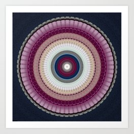 Decorative Wine Dark Blue Mandala Art Print