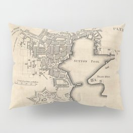 Vintage Map of Plymouth England (1765) Pillow Sham