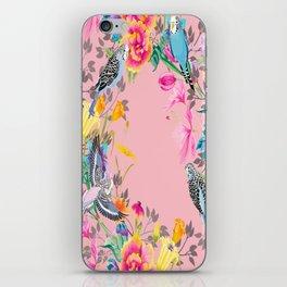 Stardust Pink Floral Birds Motif iPhone Skin