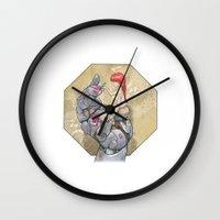 manga Wall Clocks featuring Manga 3 by Hector Gomez