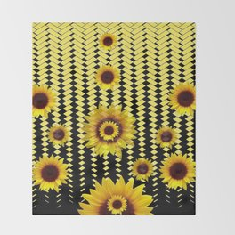 YELLOW SUNFLOWERS BLACK ABSTRACT PATTERNS ART Throw Blanket
