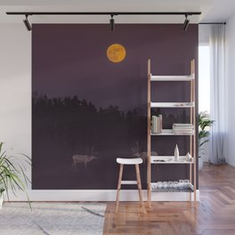 Full Moon - Winter Night With Reindeer At Edge Of Forest #decor #society6 #buyart Wall Mural