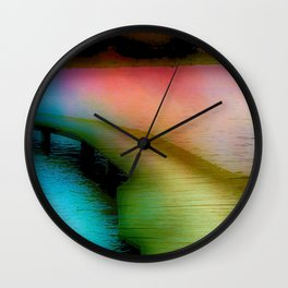 Wooden Bridge in Evening Light Wall Clock