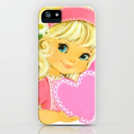 Valentine Girl with Flowers iPhone Case