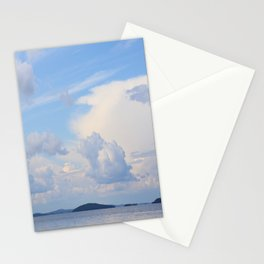 Blue Lakescape With White Clouds In The Blue Sky #decor #society6 Stationery Cards