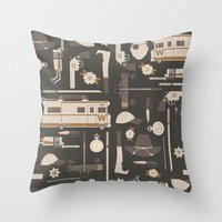 the walking dead Throw Pillows featuring The Walking Dead by Tracie Andrews
