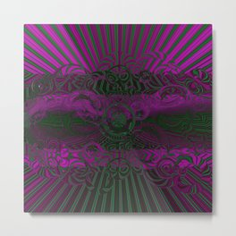 Wild Emerald Green Purple Circle 3D Abstract Metal Print