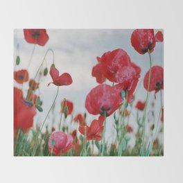 Field of Poppies Against Grey Sky Throw Blanket