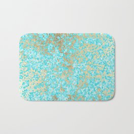 Abstract teal white faux gold modern pattern Bath Mat