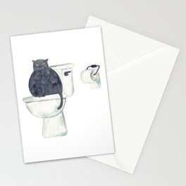 Black Cat toilet Painting Wall Poster Watercolor Stationery Cards