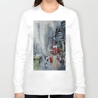 new york Long Sleeve T-shirts featuring New York - New York by Nicolas Jolly