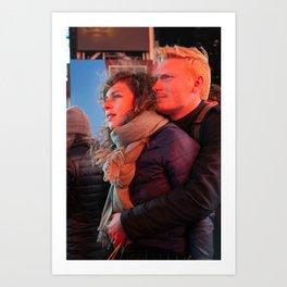 Couple Gazing at Lights Art Print