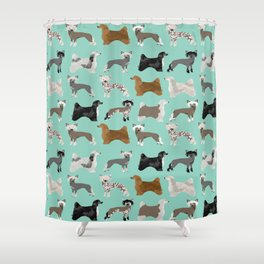 Chinese Crested dog breed variety of coats dog breed dog owner must have gifts for dog person Shower Curtain