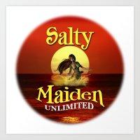 Mermaid -Salty Maiden Mermaid round Art Print