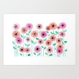 Pink and Peach Floral Watercolor Painting Art Print