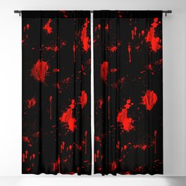 Red Paint / Blood splatter on black Blackout Curtain