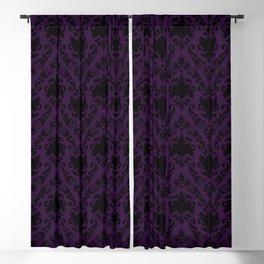 Aubergine and Black Damask Blackout Curtain