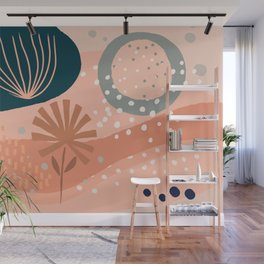 Blue Floral White Dots Wall Mural