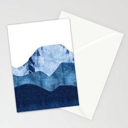 Mountains in Shades of Indigo Shibori Stationery Cards