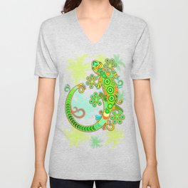 Gecko Lizard Colorful Tattoo Style Unisex V-Neck