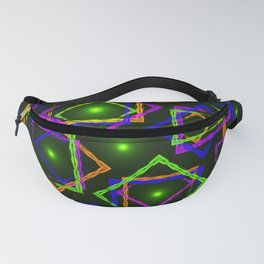 Bright diamonds and squares with highlights in the intersection on a green background. Fanny Pack