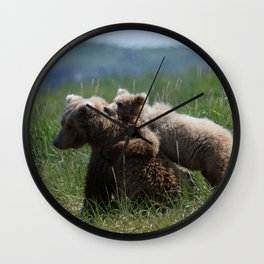 Alaska Grizzly Mother And A Cub In Katmai National Park #Society6 Wall Clock