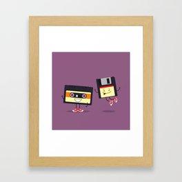 Floppy disk and cassette tape Framed Art Print