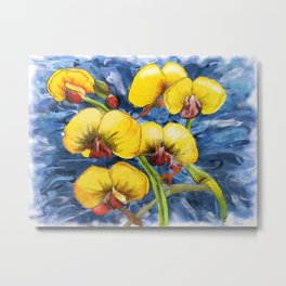 Bacon & Eggs Abstract Flower Painting Metal Print