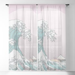 Great Wave Pastel Sheer Curtain
