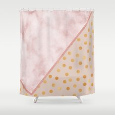 Sivec Rosa marble - golden polka dots Shower Curtain