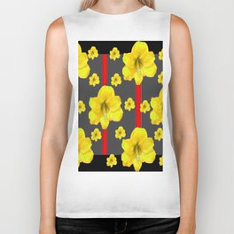 YELLOW AMARYLLIS BLACK-RED DECO ART Biker Tank