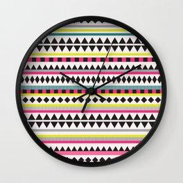 Neon Aztec Wall Clock