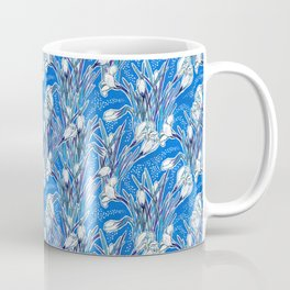 White Crocuses, Spring Flowers, Botanical Floral Pattern, Mariner Blue Coffee Mug