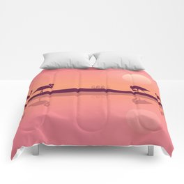 Flamingos on Riverbank Comforters