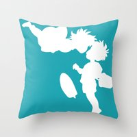 ponyo Throw Pillows featuring STUDIO GHIBLI'S PONYO by The Fugu Project