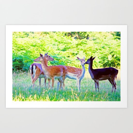 Deer Love Watercolor Art Print