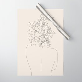 Woman with Flowers Minimal Line I Wrapping Paper