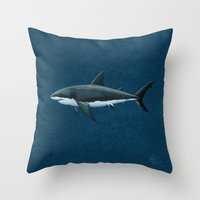 biology Throw Pillows featuring Carcharodon carcharias  ~ Great White Shark by Amber Marine