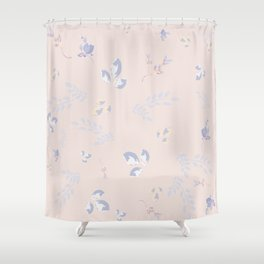 Spring watercolor leaves on peach background Shower Curtain