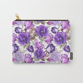 Violet lilac pink watercolor botanical roses floral Carry-All Pouch