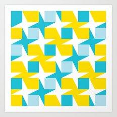 Orange & turquoise blue stars & squares geometric pattern Art Print
