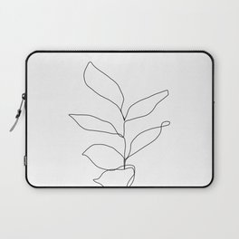 Plant one line drawing illustration - Kay Laptop Sleeve