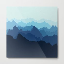 Mountains in Blue Fog Metal Print
