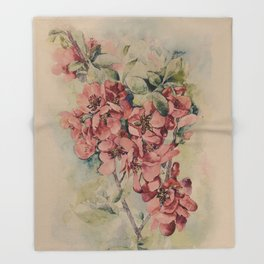 Flowering Japanese quince 2 Throw Blanket