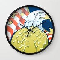 patriotic Wall Clocks featuring Patriotic Eagle by whiterabbitart
