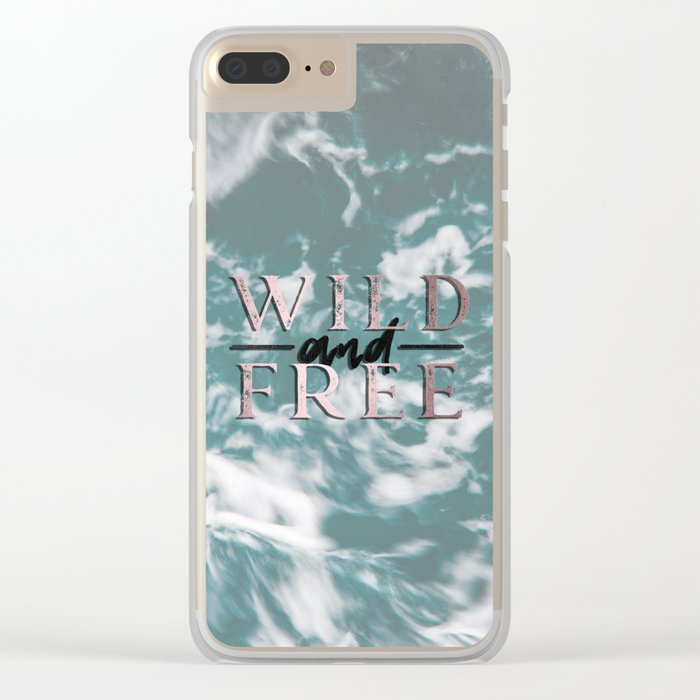 Wild and Free Waves in Rose Gold Clear iPhone Case