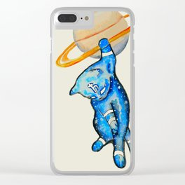 Saturn Cat Clear iPhone Case
