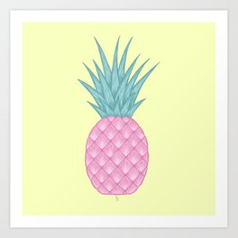 Pink pastel pineapple Art Print